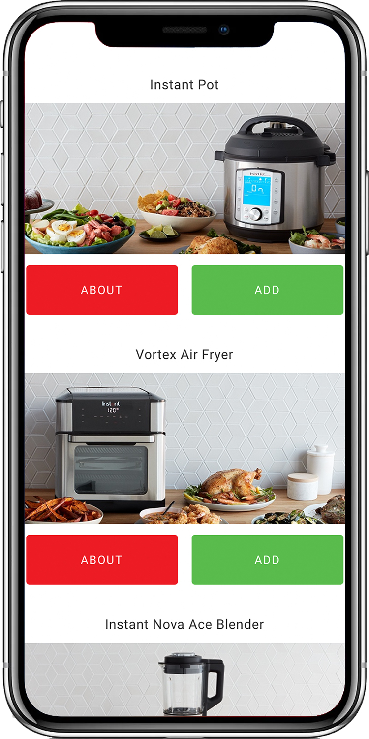 The interface of the Instant Pot app