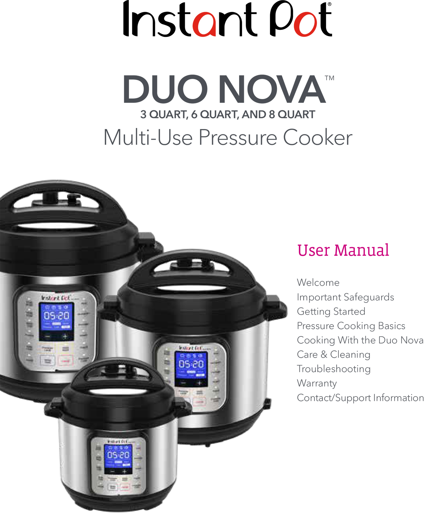 Instant Pot Duo Nova English Manual